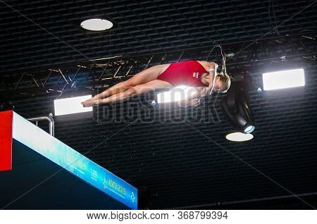 Kyiv, Ukraine - August 6, 2019: Sofiia Lyskun Of Ukraine Performs During Womens 10m Platform Final O