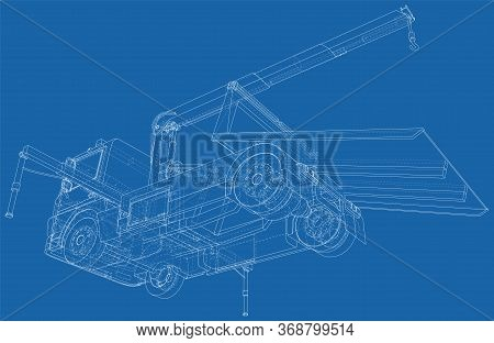 Roadside Assistance Tow Truck Illustration Car Vector. Isolated Wire-frame Of Breakdown Lorry. Wire-