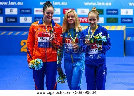 Kyiv, Ukraine - August 6, 2019: Medalists Of Womens 10m Platform Final Of The 2019 European Diving C