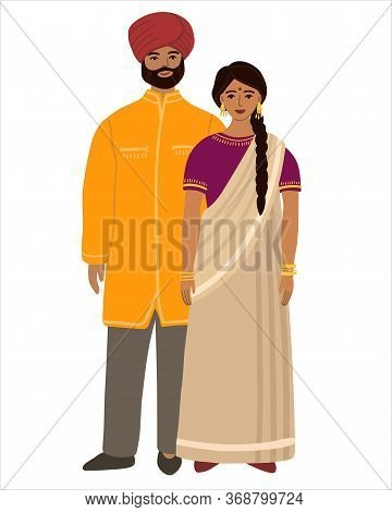 Indians Flat Husband And Wife Family. Couple Hindus Standing Together And Cuddling. Indians Man And