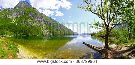 Panoramic View Of Lake Bohinj (slovenian: Bohinjsko Jezero) In Julian Alps, Slovenia. Is The Largest