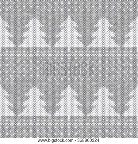 Winter Holiday Knitted Pattern. Christmas Trees Ornament. Vector Seamless Wool Knit Melange Texture