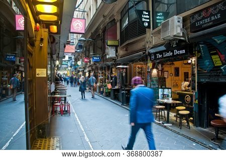 Melbourne, Australia - July 26, 2018: People Walk In Cozy Degraves Lane In Morning In Melbourne Aust