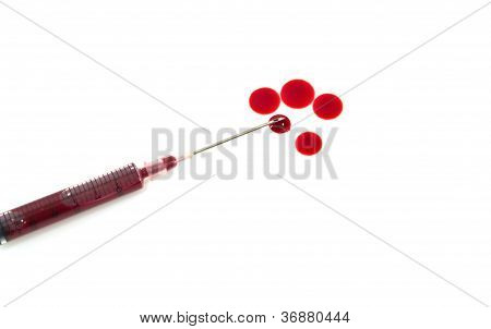Needle Of Syringe With Blood Drop.