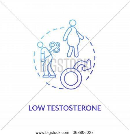 Low Testosterone Concept Icon. Mens Healthcare Problem, Male Illness Idea Thin Line Illustration. Ho