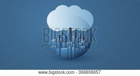 Smart City, Cloud Computing Design Concept With Transparent Globe, Cityscape And Cloud - Digital Net