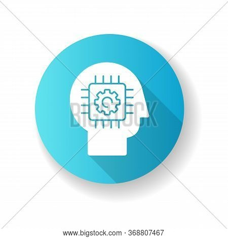 Cybernetics Blue Flat Design Long Shadow Glyph Icon. Futuristic Science, Innovative Technology. Arti