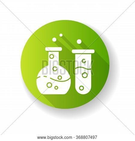 Chemistry Green Flat Design Long Shadow Glyph Icon. Fundamental Science, Natural Scientific Discipli