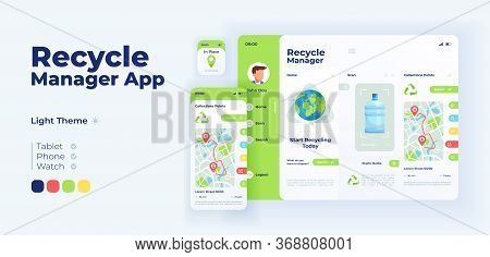 Recycling Manager App Screen Vector Adaptive Design Template. Waste Disposal Application Day Mode In