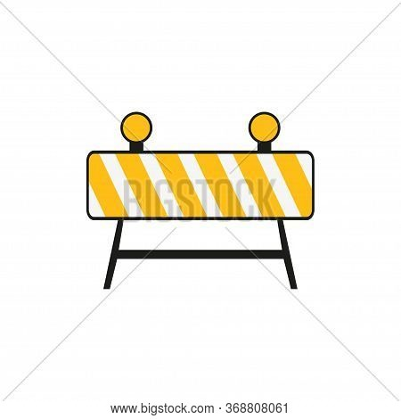 Roadblock Hurdle Road Icon Illustration For Web. Isolated Vector