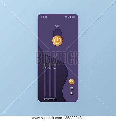 Properties Slider Smartphone Interface Vector Template. Mobile App Page Black Design Layout. Options