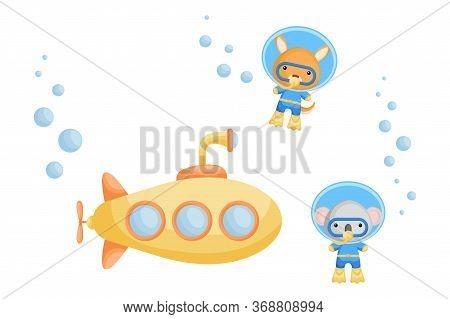 Cute Cartoon Koala And Kangaroo In Diving Suit Swim Underwater Near Submarine. Design Of T-shirt, Al