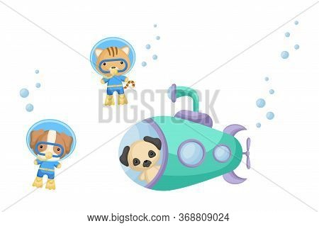 Cute Cartoon Pug Dog Looks Out Of Submarine Window And Cute Dog, Cat In Diving Suit Swim Underwater.