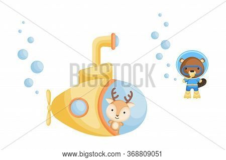 Cute Cartoon Deer Looks Out Of Submarine Window And Cute Beaver In Diving Suit Swim Underwater. Desi