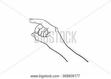 Hand Gesture Vector Sketch. Body Language Concept. Forefinger Indicates Direction - Interactive Comm