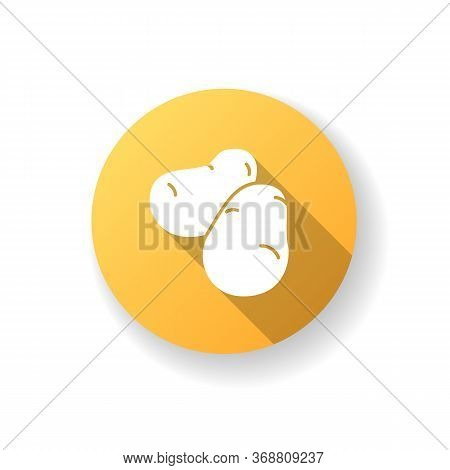 Potato Yellow Flat Design Long Shadow Glyph Icon. Fresh Vegetable To Prepare Snack. Foodstuff From G