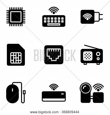 Electronic And Appliance Icon Set Include Processor,keyboard,charger,memory Card,cable Lan,radio,mou