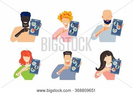 Person Holds Smartphone With Contacts Of People. Concept Choose Person. Contact List, Phonebook Icon