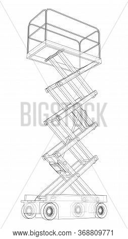 Scissor Lift Concept Outline. Vector Rendering Of 3d. Wire-frame Style. The Layers Of Visible And In