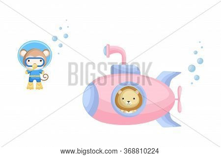 Cute Cartoon Lion Looks Out Of Submarine Window And Cute Monkey In Diving Suit Swim Underwater. Desi