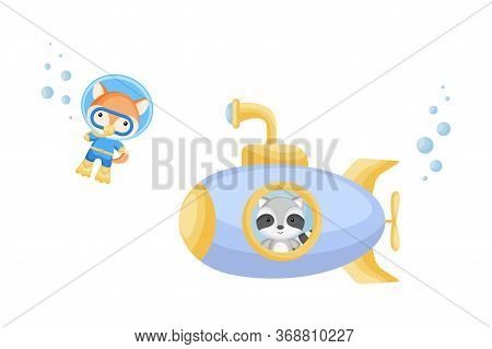 Cute Cartoon Raccoon Looks Out Of Submarine Window And Cute Fox In Diving Suit Swim Underwater. Desi