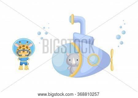 Cute Cartoon Rhino Looks Out Of Submarine Window And Cute Giraffe In Diving Suit Swim Underwater. De