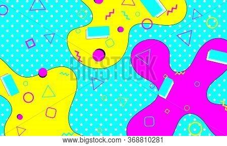 Memphis Pattern. Fun Background. Fluid Flow Shapes. Pink, Blue, Yellow Colors. Memphis Style Pattern