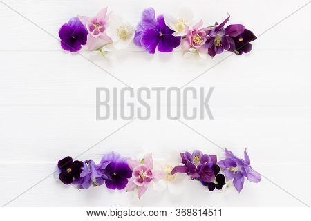 Flowers Flat Design. Floral Frame  Violet , Purple, Pink White  Flowers. Template With Copy Space On
