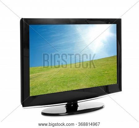 Modern Plasma Tv With Landscape On Screen Against White Background