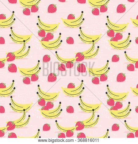 Banana And Strawberry Seamless Pattern. Fresh Fruit Concept.
