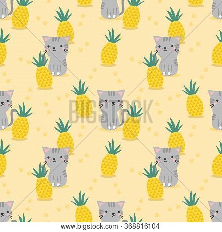 Cute Cat And Pineapple Seamless Pattern. Lovely Animal And Summer Fruit.