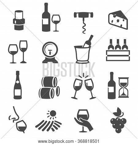 Wine Storage, Tasting, Drinking Set Of Thin Line Icons Isolated On White. Alcoholic Beverages Pictog