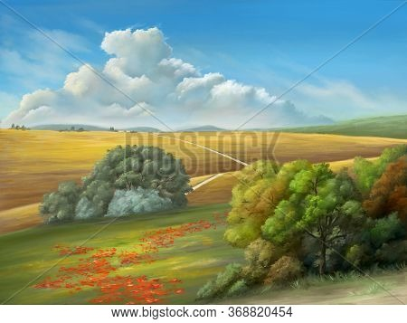 Rural landscape with a gorgeous cloudscape and some lush vegetation. Digital painting.