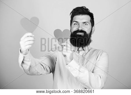 Make Him Feel Loved Every Day. Man Bearded Hipster With Heart. Celebrate Valentines Day. Guy With Be