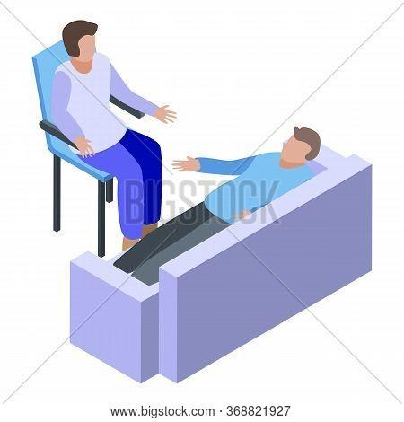 Psychologist Consultation On Sofa Icon. Isometric Of Psychologist Consultation On Sofa Vector Icon F
