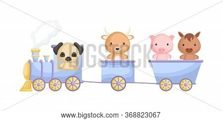 Cute Dog, Yak, Pig And Horse Ride On Train. Graphic Element For Childrens Book, Album, Scrapbook, Po