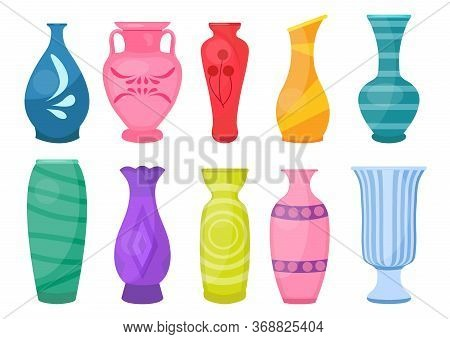 Ceramic Vases Set, Modern Flat Style. Antique Pottery Classic Pot And Bowl. Handmade Decorated Ceram
