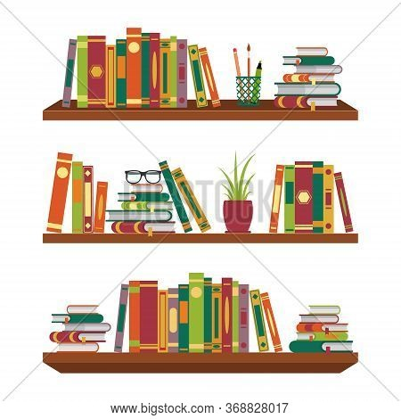 Flat Book On Bookshelves. Pile Books On Shelf With Stationery And Glasses For School Room. Stack Dic