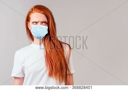Redhair Ginger Woman Feeling Angry And Irritation Studio Background