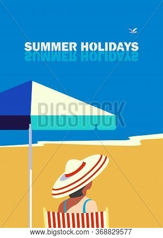Summer Seaside Landscape. Blue Ocean Scenic View Poster. Freehand Drawn Cartoon Retro Style. Holiday