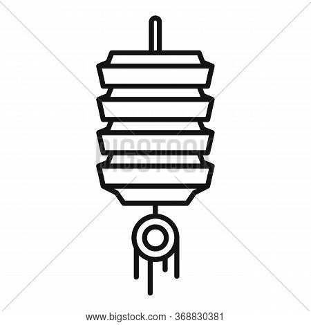 Decor Chinese Lantern Icon. Outline Decor Chinese Lantern Vector Icon For Web Design Isolated On Whi