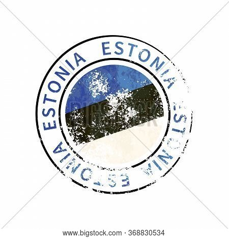 Estonia Sign, Vintage Grunge Imprint With Flag On White