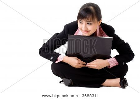 Asian Business Woman With A Laptop
