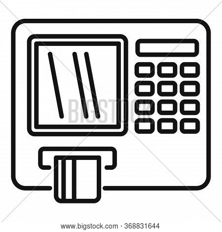 Atm Machine Icon. Outline Atm Machine Vector Icon For Web Design Isolated On White Background