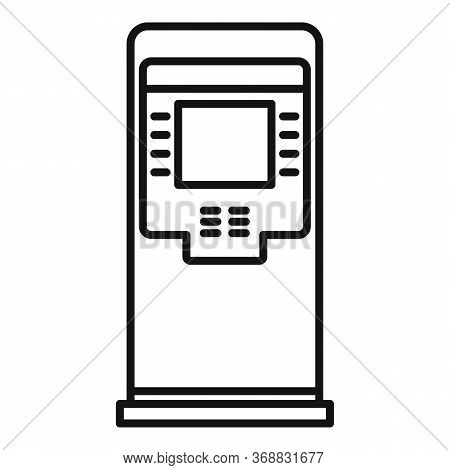 Finance Atm Icon. Outline Finance Atm Vector Icon For Web Design Isolated On White Background