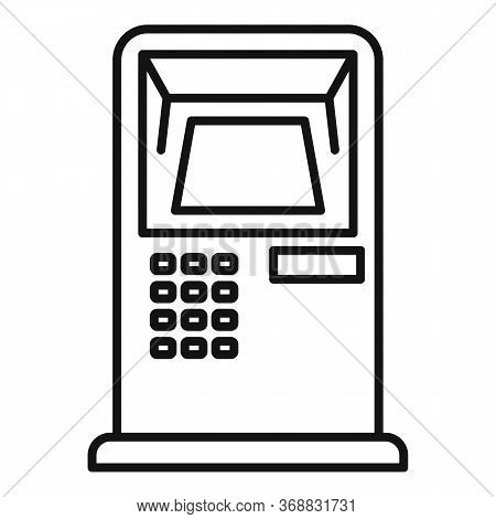 Bank Card Atm Icon. Outline Bank Card Atm Vector Icon For Web Design Isolated On White Background