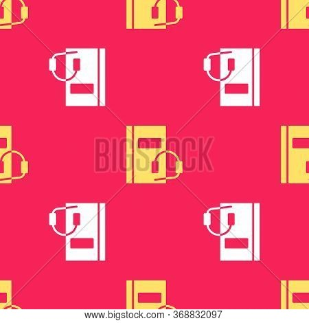 Yellow Audio Book Icon Isolated Seamless Pattern On Red Background. Book With Headphones. Audio Guid