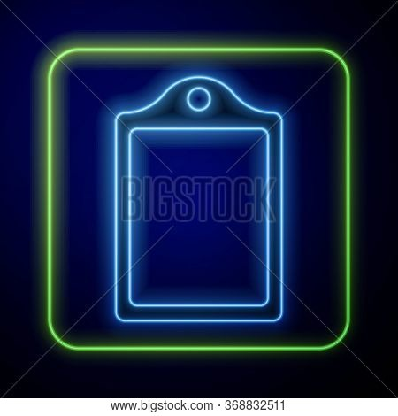Glowing Neon Cutting Board Icon Isolated On Blue Background. Chopping Board Symbol. Vector.