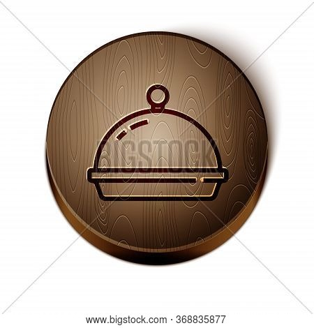 Brown Line Covered With A Tray Of Food Icon Isolated On White Background. Tray And Lid. Restaurant C