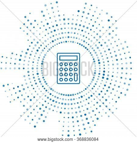 Blue Line Calculator Icon Isolated On White Background. Accounting Symbol. Business Calculations Mat